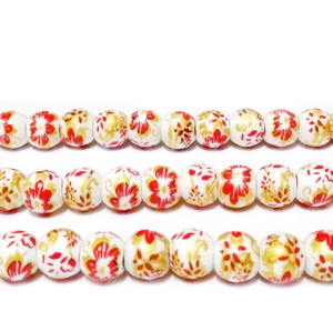 Margele portelan, albe, pictate cu flori rosii, 10mm 1 buc