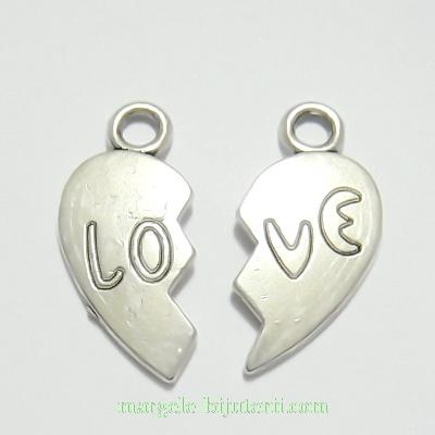 2 pandantive argint tibetan, inima franta, 23x11mm 1 set