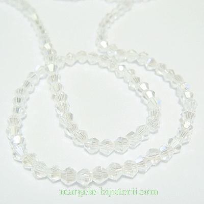 Margele sticla, biconice, transparente AB, 3mm-sirag 30cm 1 buc