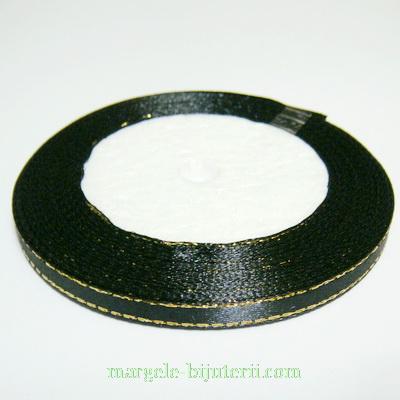 Saten negru cu fir lurex auriu, 7mm, rola 25 metri 1 buc