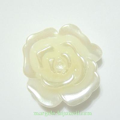 Cabochon plastic, imitatie perle, crem, floare 30x30x12mm 1 buc