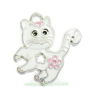 Pandantiv metalic, emailat, alb-roz, pisica, 28x25mm 1 buc