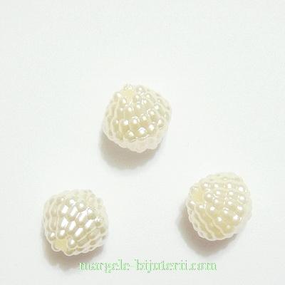 Margele plastic, crem, perlate, 10mm 1 buc