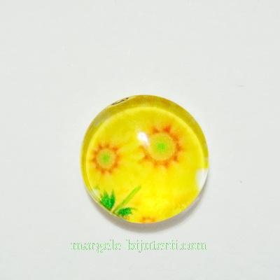 Cabochon sticla, 10mm, cu flori, model 2 1 buc