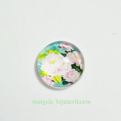 Cabochon sticla, 10mm, cu flori, model 32 1 buc