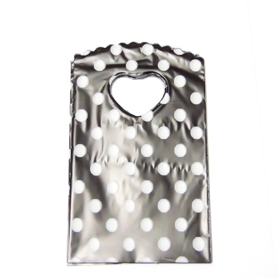 Pungi plastic, negre cu buline albe, 14x9 cm cca 50 buc