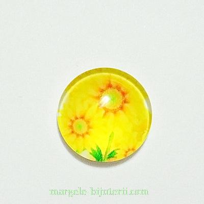 Cabochon sticla, 12mm, cu flori, model 15 1 buc
