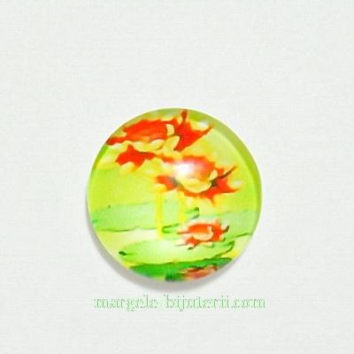Cabochon sticla, 12mm, cu flori, model 21 1 buc