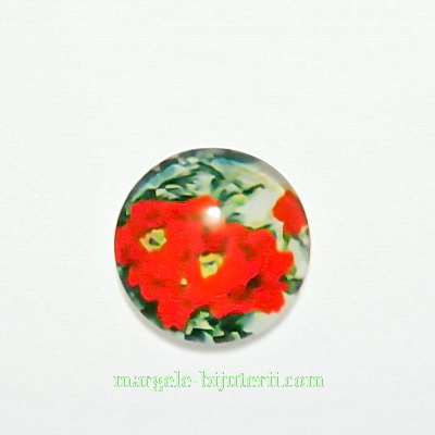 Cabochon sticla, 12mm, cu flori, model 42 1 buc