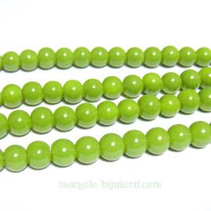 Margele sticla, sferice, verde-kaky, 6mm 10 buc