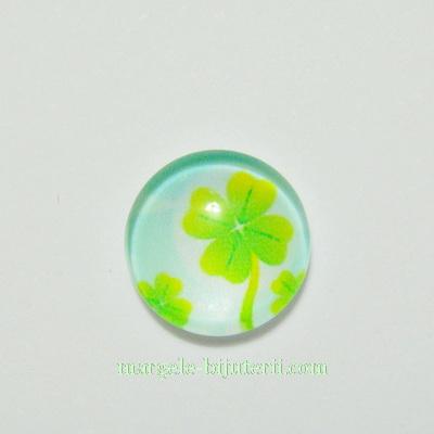 Cabochon sticla, cu trifoi, 12mm, model 1 1 buc
