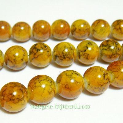 Margele sticla rotunde caramel 12 mm 1 buc