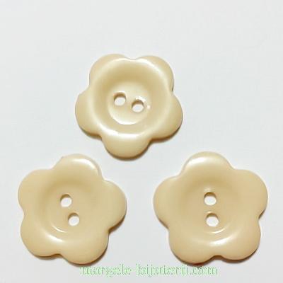 Nasturi plastic crem, floare 22x2mm 1 buc