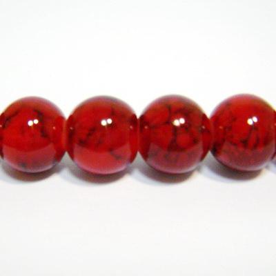 Margele sticla rotunde rosu-bordo 10mm 10 buc