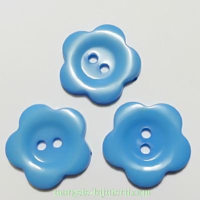 Nasturi plastic albastru, floare 22x2mm 1 buc