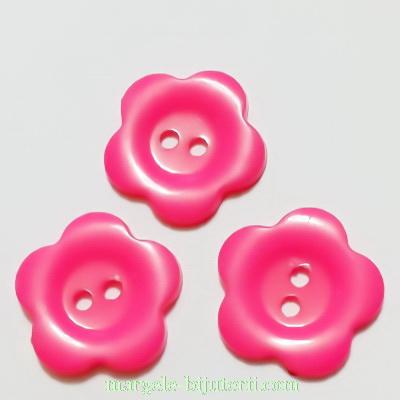 Butoni plastic fucsia, floare 22x2mm 1 buc