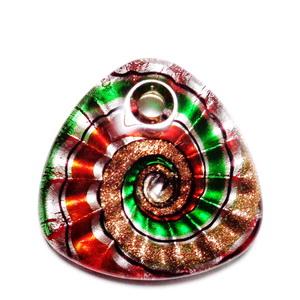 Pandantiv Murano rosu cu verde, argintiu si auriu, 43x43x10mm 1 buc