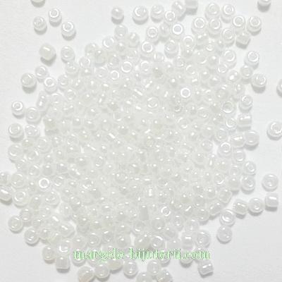 Margele nisip, albe, semitransparente, AB, perlate, 1.5mm  20 g