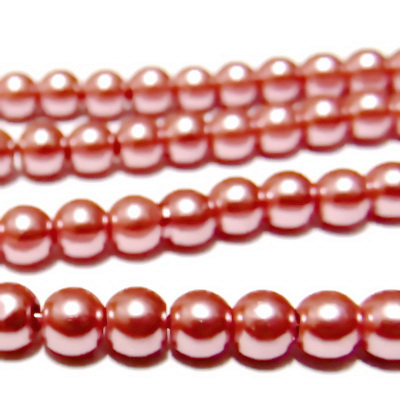 Perle sticla mov-roz 6mm 10 buc