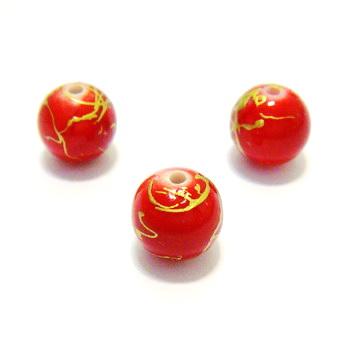 Margele plastic rosii cu auriu 12 mm 1 buc