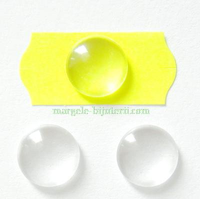 Cabochon sticla transparenta, 12x3.5~4mm 1 buc