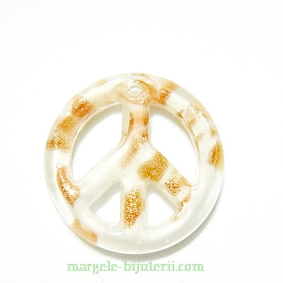 Pandantiv Murano, timona, alb cu auriu, 25x4.5mm 1 buc