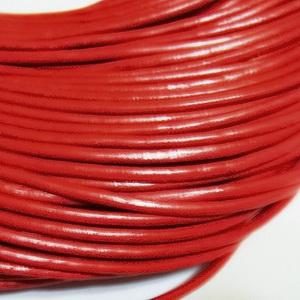 Snur piele naturala, rosu, 3mm 1 m