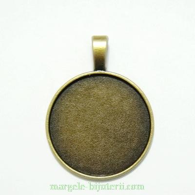 Baza cabochon, bronz, pandantiv, 36x28mm, interior 24mm 1 buc