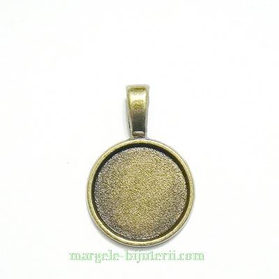 Baza cabochon, bronz, pandantiv, 28x19mm, interior 16mm 1 buc