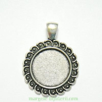 Baza cabochon, argint tibetan, pandantiv, 36x27mm, interior 18mm 1 buc
