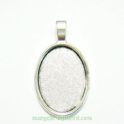 Baza cabochon, argint tibetan, pandantiv, 40x25mm, interior 30x20m 1 buc