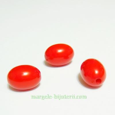 Margele plastic rosu, ovale, 12x9mm 1 buc