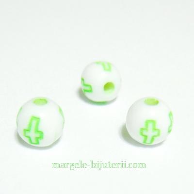Margele plastic alb cu cruciulite verde-neon, 6mm 10 buc