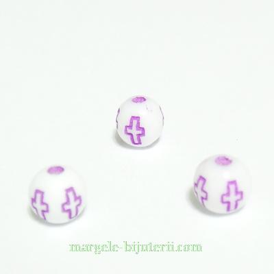 Margele plastic alb cu cruciulite mov, 6mm 10 buc