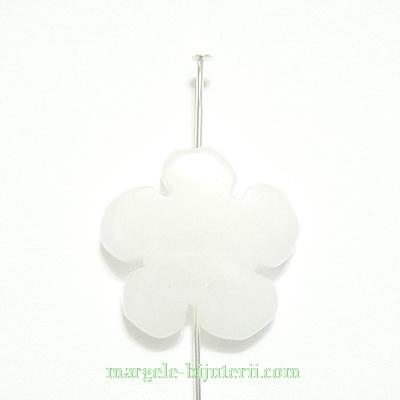 Flori cu 5 petale, jad alb, 20x20x5mm 1 buc