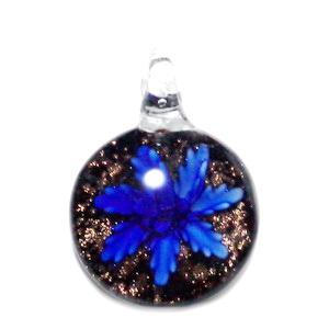 Pandantiv Murano albastru cu kaky si glitteri auriu, 45x35x8mm 1 buc