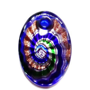 Pandantiv Murano, albastru cu verde si glitter auriu, 55x39x10mm 1 buc