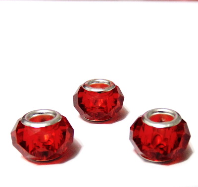 Margele sticla tip Pandora, rosii, multifete,14x10mm 1 buc