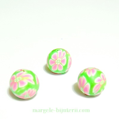 Margele fimo, verde lime-roz, 10mm 1 buc