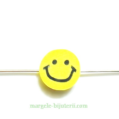 Margele fimo, SMILE, galbene, 10x5mm 1 buc