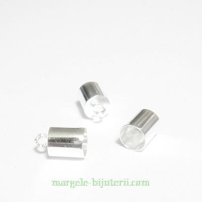 Capat prindere snur, argintiu, 10x6mm, interior 5.5mm 1 buc