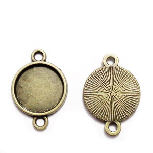Conector/ link bronz, baza cabochon,  22x15mm, interior: 10mm 1 buc