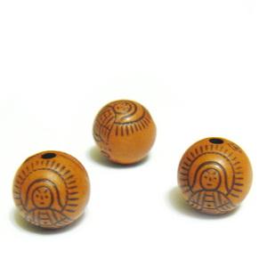 Margele plastic, imitatie lemn, cu ingeras, maro, 8mm 10 buc