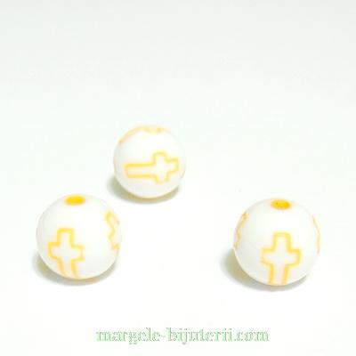 Margele plastic alb, cu cruciulite portocalii, 10mm 10 buc