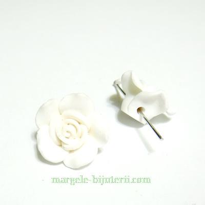 Margele polymer, floare alba, 13~16x7~10mm 1 buc