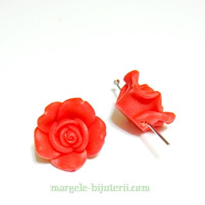 Margele polymer, floare rosie, 13~16x7~10mm 1 buc