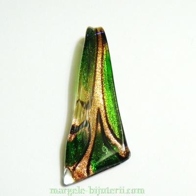 Pandantiv Murano verde cu auriu, 60x8~24x6mm  1 buc