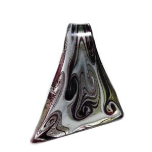 Pandantiv Murano, triunghiular,  negru cu argintiu, 10~45x 52mm 1 buc