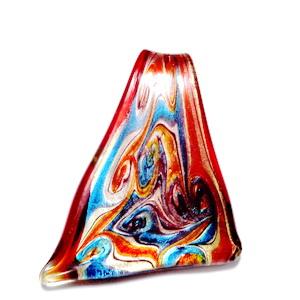 Pandantiv Murano, triunghiular,  rosu cu argintiu, 10~45x 52mm 1 buc