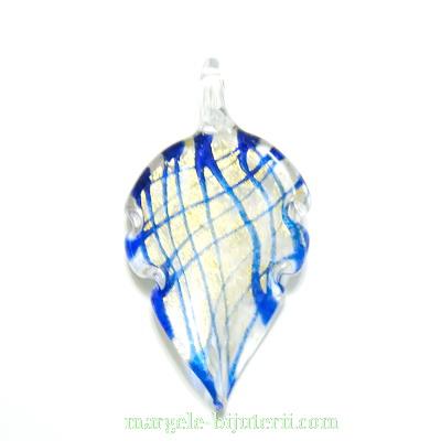Pandantiv Murano, frunza,  albastru cu auriu, 59x31x10mm 1 buc
